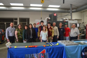 Cypress Woods High School students with the galley table for the ISS