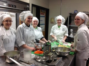 York County School of Technology preparing their vegetarian chili entre for the HUNCH Culinary Challengw